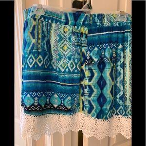 Copper Key Aztec print mini skirt w/ crochet trim
